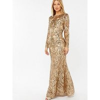 Monsoon Mariana Embellished Maxi Dress - Gold