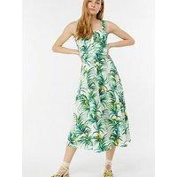 Monsoon Margot Poplin Sundress - Lemon Print , Ivory, Size 8, Women