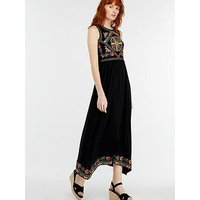 Monsoon Maylin Embroidered Midi Dress - Black