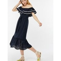 Monsoon Cynthia Rik Rak Midi Dress - Navy