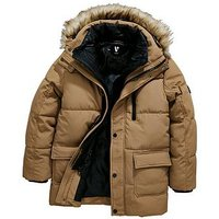 Boys, V by Very 2 In 1 Mock Fur Hooded Jacket, Tan, Size Age: 13 Years