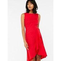 Monsoon Whitney Linen Frill Dress - Red, Red, Size 10, Women