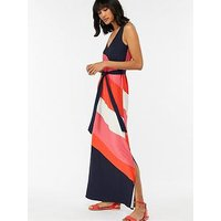 Monsoon Cece Colourblock Maxi Dress - Navy/Pink/Orange