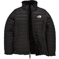 THE NORTH FACE The North Face Girls Reversible Mossbud Swirl Jacket, Black, Size S=7-8 Years, Women