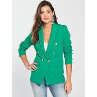 V by Very Double Breasted Blazer - Green, Green, Size 10, Women