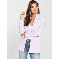 V by Very Longline Statement Jacket - Candy Pink, Lilac, Size 10, Women
