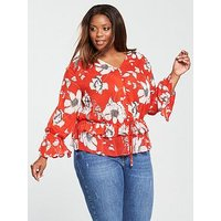 V by Very Curve Printed Gathered Waist Blouse - Orange Floral, Orange Floral, Size 18, Women