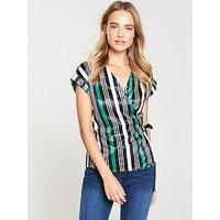 V by Very Sleeveless Wrap Top - Stripe, Stripe, Size 8, Women