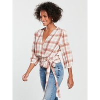 V by Very Crinkle Wrap Top - Check, Check, Size 20, Women