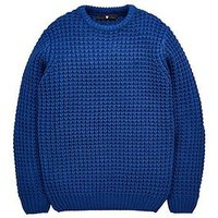 V by Very Boys Chunky Knitted Jumper - Navy, Navy, Size Age: 15 Years