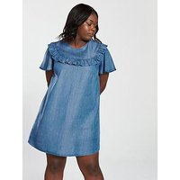 V by Very Curve Tencel Ruffle Detail Dress - Blue, Blue, Size 28, Women