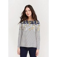 Joules Harbour Long Sleeved Jersey Top - Navy/White, Navy Gold Ditsy, Size 14, Women