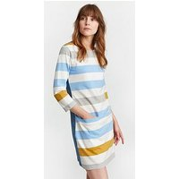 Joules Jade Jersey Woven Mix Tunic - Multi , Blue Gold Bold Stripe, Size 12, Women
