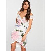 AX Paris Cold Shoulder Floral Print Wrap Dress - Cream , Cream, Size 14, Women