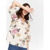 Joules V-Neck Top With Fluted Sleeves - Cream, Cream, Size 8, Women