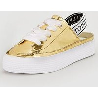 Tommy Hilfiger Mirror Metal Slingback Trainer - Gold, White, Size 40, Women