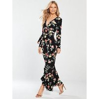 V by Very Wrap Jersey Maxi Dress - Floral Print, Print, Size 8, Women