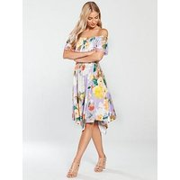 V by Very Bardot Hanky Hem Jersey Midi Dress - Printed, Print, Size 10, Women