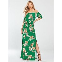 V by Very Petite Bardot Jersey Maxi Dress - Green Print, Green Print, Size 14, Women