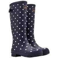 Joules Printed Adjustable Back Gusset Welly - Navy Spot, Navy Spot, Size 4, Women