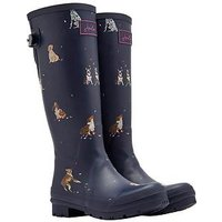 Joules Adjustable Back Gusset Welly - Navy Dog Print, Navy Bircham Bloom, Size 5, Women