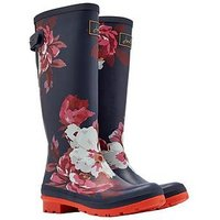Joules Adjustable Back Gusset Welly - Navy Bloom Print, Navy Bloom, Size 8, Women