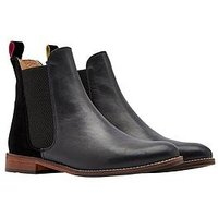 Joules Westbourne Leather Chelsea Boot - Black, Black, Size 8, Women