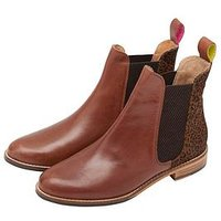 Joules Westbourne Leather Chelsea Boot - Tan and Leopard Print, Leopard, Size 4, Women