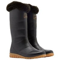Joules Downton Tall Padded Welly with Faux Fur Collar - Black, Black, Size 5, Women