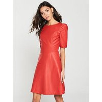 V by Very Petite PU A-Line Dress - Red, Red, Size 10, Women
