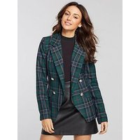 Michelle Keegan Checked Double Breasted Blazer, Check, Size 10, Women
