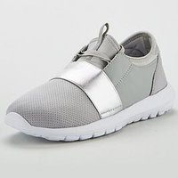 V by Very Wide Fit Amanda Elastic Strap Trainer, Grey, Size 8, Women