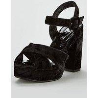 V by Very Wide Fit Brooke Velvet Platform Sandal - Black, Black, Size 3, Women
