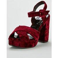 V by Very Wide Fit Brooke Velvet Platform Sandal - Burgundy, Burgundy, Size 6, Women