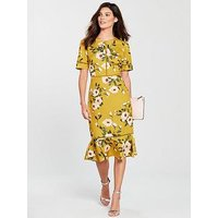 Phase Eight Hilary Floral Dress - Chartreuse, Chartreuse, Size 10, Women