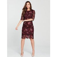 Phase Eight Belle Lace Dress - Claret