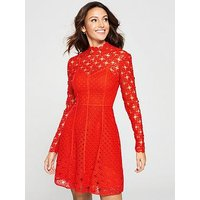 Michelle Keegan High Neck Lace Skater Dress - Red, Red, Size 14, Women