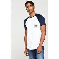 V by Very Contrast Sleeve Raglan T-shirt, White/Navy, Size S, Men
