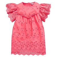 Mini V by Very Broiderie Anglaise Dress, Pink, Size 2-3 Years, Women