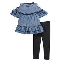 Mini V by Very Girls Cold Shoulder Top & Legging Outfit, Multi, Size Age: 9 Years, Women