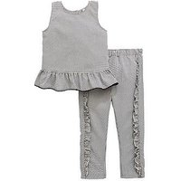 Mini V by Very Gingham Ruffle Blouse & Trouser Set, Black, Size Age: 12-18 Months, Women