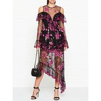 Alice Mccall Mirage Embroidered Lace Cold Shoulder Maxi Dress - Black/Violet