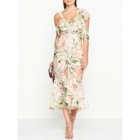 Alice Mccall Oh Romeo Metallic Floral Print Ruffle Detail Midi Dress - Blush