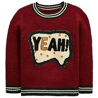 Mini V by Very Boys Yeah Slogan Sequin Knitted Jumper - Burgundy , Burgundy, Size Age: 3-4 Years