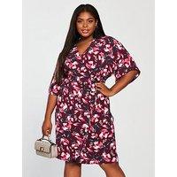 V by Very Curve Kimono Sleeve Pencil Dress, Print, Size 22, Women