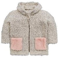 Mini V by Very Girls Faux Fur Pocket Cosy Knit Pom Pom Cardigan, Multi, Size Age: 4-5 Years, Women