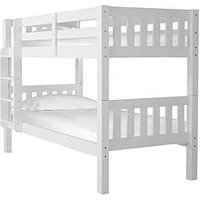 Silentnight Neptune Bunk Bed with Mattress Options - Bunk Bed With Waterproof Anti Allergy Single Sprung Mattress, White