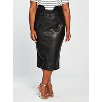 V by Very Curve Pu Highwaisted Pencil Skirt, Black, Size 14, Women