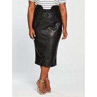 V By Very Curve Pu Highwaisted Pencil Skirt