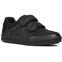 Geox Geox Arzach Boys Leather Strap School Shoe, Black, Size 11 Younger